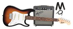 Squier by Fender Stratocaster Short Scale Beginner Electric Guitar Pack with Squier Frontman 10G ...