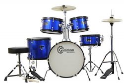 Gammon 5-Piece Junior Starter Drum Kit with Cymbals, Hardware, Sticks, Throne – Metallic Blue
