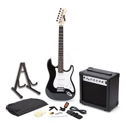 RockJam RJEGPKGUSA Full Size Electric Guitar SuperKit with 20 Watt Amp, Guitar Stand, Case, Tune ...