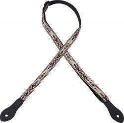 Levy's Leathers 1/2″ Jacquard Weave Mandolin/Ukulele Strap with Dual Leather Strap P ...