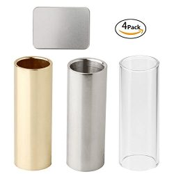Brass Slide Stainless Steel and Glass Slide with Gift Box for Guitar, Bass, Medium,3 pcs