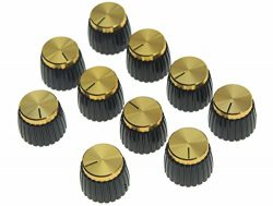 KAISH 10pcs Guitar AMP Amplifier Push on fit Knobs Black with Gold Aluminum Cap Top Fits 6mm dia ...