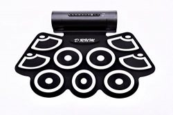 Kiker Electronic Roll Up MIDI Drum Kit with Built in Speakers, Foot Pedals, Drumsticks, and Powe ...