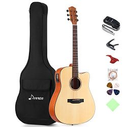 Donner DAG-1CE Electric Acoustic Guitar Cutaway 41'' Full-size Guitar Bundle Built-in Preamp wit ...