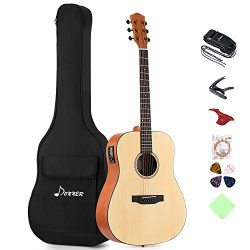 Donner DAG-1E Electric Acoustic Guitar Package Full-size 41'' Dreadnought Guitar Built-in Preamp ...