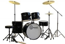 Black Drum Set 5 Piece Complete Full Size Adult Set with Cymbals Stands Stool and Extra Boom Stand