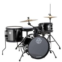 Ludwig LC178X016 Questlove Pocket Kit 4 Piece Drum Set Black Sparkle Finish