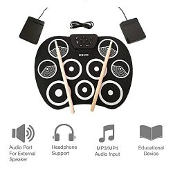 Youqian Portable Electronic Roll Up Drum Kit, USB Digital 9 Pad Foldable Practise Electronic Dru ...