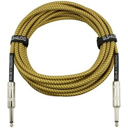 GLS Audio 20 Foot Guitar Instrument Cable – 1/4 Inch TS to 1/4 Inch TS 20 FT Brown Yellow  ...