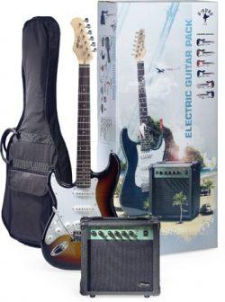Stagg ESURF 250LHSB US Surfstar Left Handed Electric Guitar and Amplifier Package – Sunburst