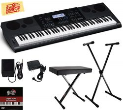 Casio WK-6600 Workstation Keyboard Bundle with Adjustable Stand, Bench, Sustain Pedal, Power Sup ...