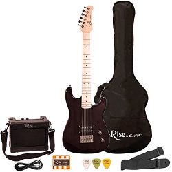 Rise by Sawtooth ST-RISE-ST-3/4-BLK-KIT-1 Electric Guitar Pack, Black