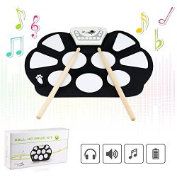 Jiesstore Portable Mini USB Interface Kids Silicon Foldable Electronic Roll up Digital Drum Pad  ...