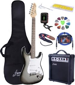 Full Size Silver Burst Electric Guitar with Amp, Case and Accessories Pack Beginner Starter Package