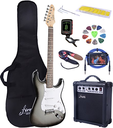 full size silver burst electric guitar with amp case and accessories pack beginner starter. Black Bedroom Furniture Sets. Home Design Ideas