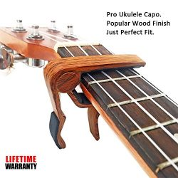 Ventico Wooden Pro Ukulele Capo for Soprano Contert Baritone,Rosewood with Bag