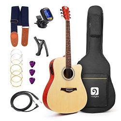 Vangoa – 41″ Full-Size Natural Acoustic Electric Cutaway Guitar + 4 Band EQ with Bag ...