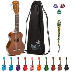 Hola! Music HM-21BR Soprano Ukulele Bundle with Canvas Tote Bag, Strap and Picks, Color Series,  ...