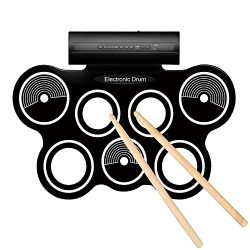 Flexzion Portable Roll Up Drum Pad Set Kit with Built-in Speaker – Digital Electronic Fold ...