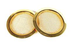 2pc. Gold Screened Sound Hole Inserts for Resonator Guitar, Dobro & Cigar Box Guitar