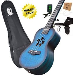 Kalena Mahogany Concert Ukulele color variations series with instruction book, strap, tuner, ext ...