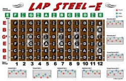 Lap Steel Guitar Fretboard Chart Poster – E Tuning