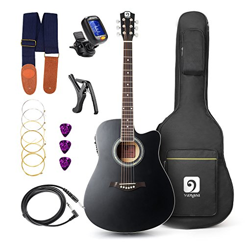 Vangoa – 41 inch Full-Size Black VG-41ECBK Acoustic Electric Cutaway Guitar with Guitar Gi ...