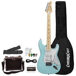 Sawtooth 6 String Right Handed Electric Guitar With Pickguard, Daphne Blue/Pearloid White (ST-ES ...