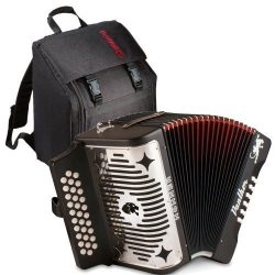 Hohner 3100FB Panther Diatonic Button Accordion in F key accordion Bundle with Accordion Gig Bag
