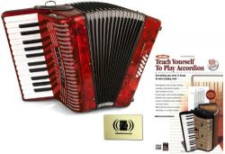 Hohner Accordions 1303-RED 37-Key 12-Bass Accordion Bundle with Alfred's Teach Yourself to ...