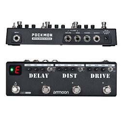 Guitar Effect Pedal, ammoon POCKMON Multi-Effects Pedal Strip with Tuner Delay Distortion Overdr ...