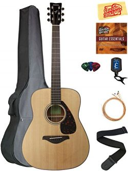 Yamaha FG800 Acoustic Guitar – Natural Bundle with Gig Bag, Tuner, Strings, Strap, Picks,  ...