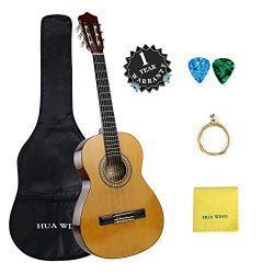 Classical Guitar set HUA WIND 39″ inch 4/4 Full Size Starter Classical Acoustic Guitar wit ...