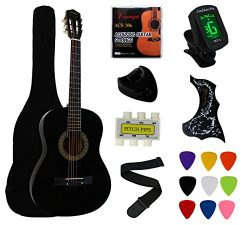 YMC 38″ Black Beginner Acoustic Guitar Starter Package Student Guitar With Gig Bag,Strap,3 ...