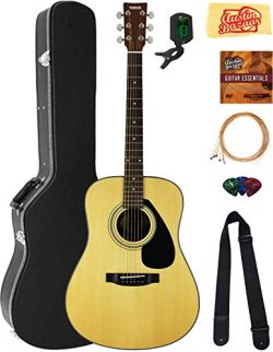 Yamaha F325D Dreadnought Acoustic Guitar Bundle with Hard Case, Tuner, Strings, Strap, Picks, Au ...