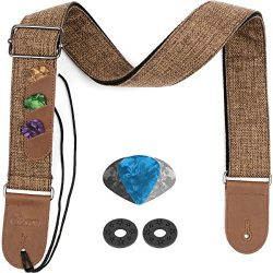 Eison Guitar Strap for Electric Acoustic Bass Guitar and Ukulele with Leather Ends and Pick Pock ...