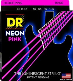 DR Strings NPB-45 Coated Nickel Hi-Def Pink Bass Guitar Strings, Medium