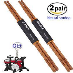 Sound harbor Drum sticks Natural Bamboo Drumsticks 5A B (2 Pair Bamboo)