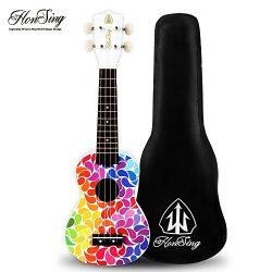 Honsing Soprano Ukulele Colorful Floral petal Painting Hawaii kids Guitar 21 inch Gift for Begin ...