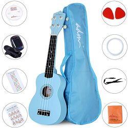ADM Ukulele 21 Inch Soprano Wood Beginner Kit with Teaching CD Gig bag Tuner Fingerboard Sticker ...