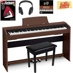 Casio Privia PX-770 Digital Piano – Brown Bundle with Furniture Bench, Headphones, Instruc ...