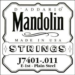 D'Addario J7401Plain Steel Mandolin Single String, First String.011