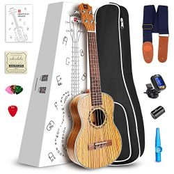 Vangoa Soprano Ukulele Zebra Wood UK-21Z 21 inch Acoustic Ukulele Beginner Bundle with Picks, Ny ...