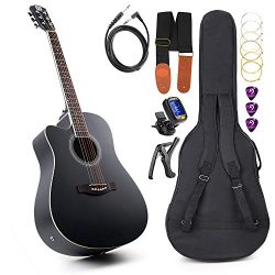 Vangoa – 41″ Full-Size Black Acoustic Electric Cutaway Left- handed Guitar with Guit ...