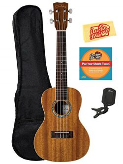 Cordoba 15CM Concert Ukulele Bundle with Gig Bag, Tuner, Austin Bazaar Instructional DVD, and Po ...