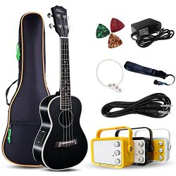 Electric Concert Ukulele With Amp | 23″ Acoustic-Electric Ukulele Beginner Kit | This Elec ...