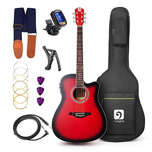 Vangoa – 41 inch Full-Size VG-41ECR Red Acoustic Electric Cutaway Guitar with Guitar Gig B ...
