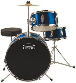 Union DBJ3071(DB) 3-Piece Junior Drum Set with Hardware, Cymbal and Throne – Metallic Dark ...