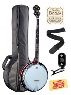 Oscar Schmidt OB5 Mahogany 5-String Banjo Bundle with Gig Bag, Tuner, Strings, Strap, and Austin ...