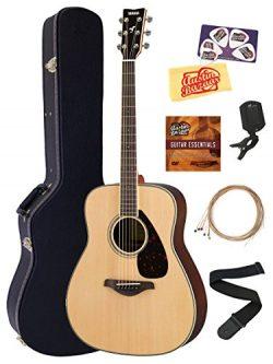 Yamaha FG830 Solid Top Folk Acoustic Guitar – Natural Bundle with Hard Case, Tuner, String ...
